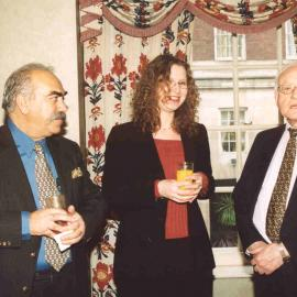 Mustapha Karkouti (left) with Gillian Watt (former staff) and David Watkins (then Treasurer)