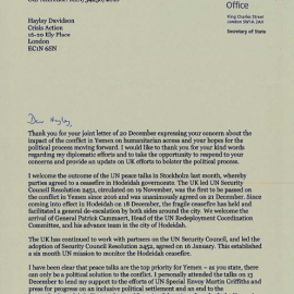Letter from Foreign Secretary